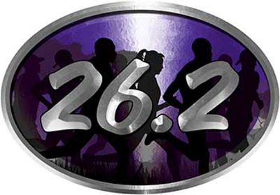 Oval Marathon Running Decal 26.2 in Purple with Runners