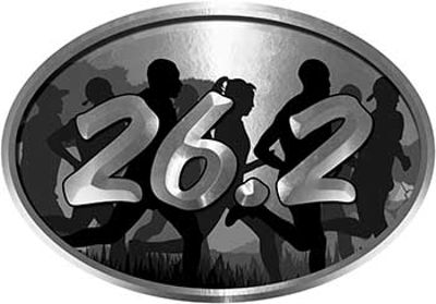 Oval Marathon Running Decal 26.2 in Silver with Runners