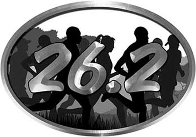 Oval Marathon Running Decal 26.2 in White with Runners