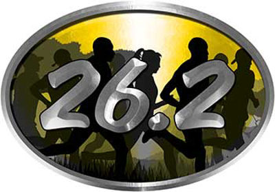 Oval Marathon Running Decal 26.2 in Yellow with Runners