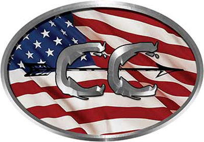 Oval Cross Country Distance Running Decal with American Flag