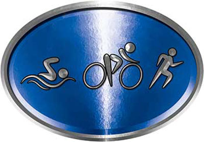 Oval Triathlon Marathon Running Decal in Blue