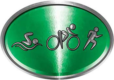 Oval Triathlon Marathon Running Decal in Green