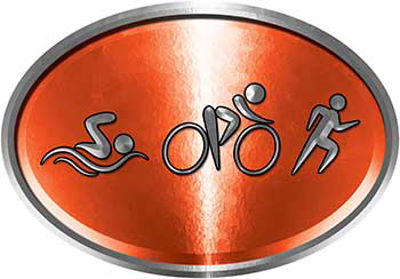 Oval Triathlon Marathon Running Decal in Orange
