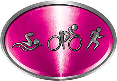 Oval Triathlon Marathon Running Decal in Pink