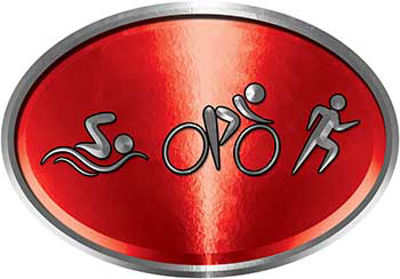 Oval Triathlon Marathon Running Decal in Red
