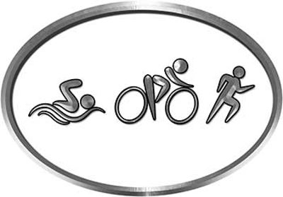 Oval Triathlon Marathon Running Decal in White