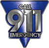 Call 911 Emergency Police EMS Fire Decal in Blue
