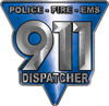 911 Emergency Dispatcher Police Fire EMS Decal in Blue