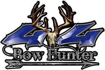 Bow Hunter Twisted Series 4x4 Truck Decal Kit with Arrow in Blue
