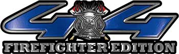 Firefighter Fire Department Maltese Cross 4x4 Fire Fighter Edition Decals in Blue