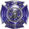 Fire Assistant Chief Maltese Cross with Flames Fire Fighter Decal in Blue