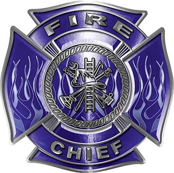 Fire Chief Maltese Cross with Flames Fire Fighter Decal in Blue