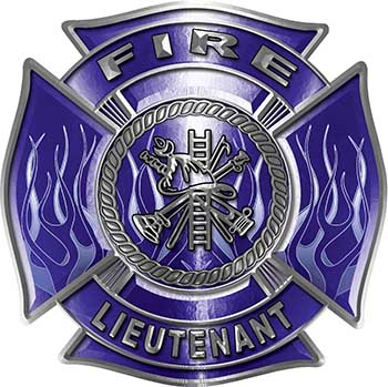 Fire Lieutenant Maltese Cross with Flames Fire Fighter Decal in Blue
