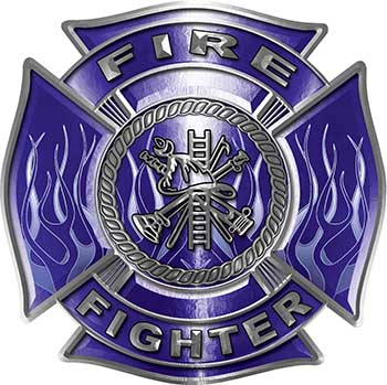 Fire Fighter Maltese Cross Decal with Flames in Blue