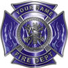 Personalized Fire Fighter Maltese Cross Decal with Flames in Blue