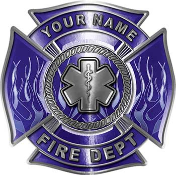 Personalized Fire Fighter Maltese Cross Decal with Flames and Star of Life in Blue