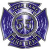 Personalized Fire Fighter Maltese Cross Decal with Flames and Number in Blue