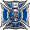 Celtic Style Rough Steel Fire Fighter Maltese Cross Decal in Blue