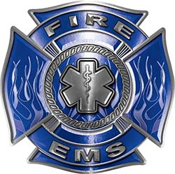 Fire EMS Maltese Cross Decal with Flames and Star of Life in Blue