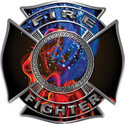 Fire and Water Maltese Cross Firefighter Decal