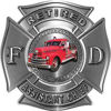 Retired Assistant Chief Officer Fire Department Maltese Cross Firefighter Decal with Antique Fire Truck in Silver