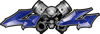 Twin Piston with Crazy Skull 4x4 ATV Truck or SUV Decals in Blue