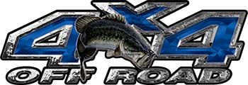 Largemouth Bass Fishing Edition 4x4 Off Road ATV Truck or SUV Decals in Blue