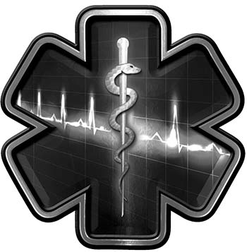 Star of Life with Heartbeat Emergency EMS EMT Paramedic Decal in Black