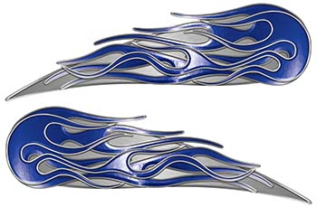 Twin Flame Motorcycle Tank Decal in Blue