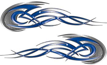 Tribal Flames Motorcycle Tank Decal Kit in Blue