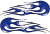 Hot Rod Classic Car Style Flame Graphics with Silver Outline in Blue