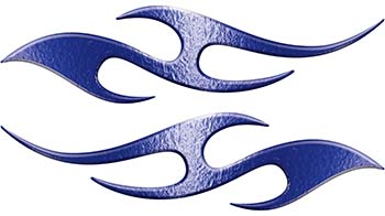 Simple Tribal Style Flame Graphics with Silver Outline in Blue