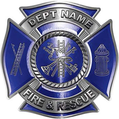 Custom Personalized Fire Fighter Decal with Fire Scramble in Blue