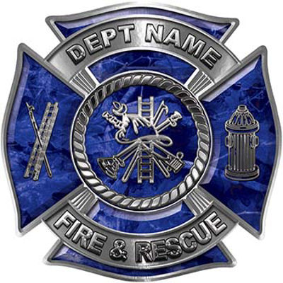 Custom Personalized Fire Fighter Decal with Fire Scramble in Blue Camouflage