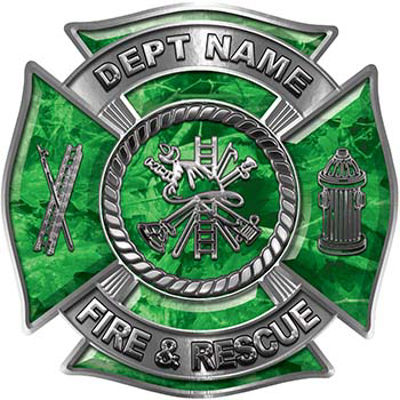 Custom Personalized Fire Fighter Decal with Fire Scramble in Green Camouflage