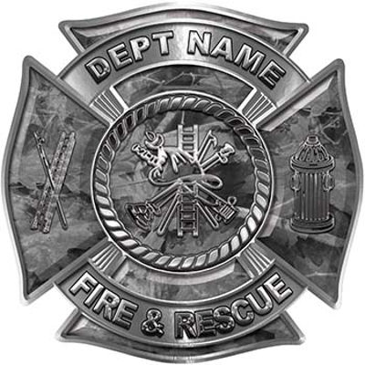 Custom Personalized Fire Fighter Decal with Fire Scramble in Gray Camouflage
