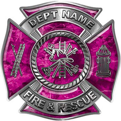 Custom Personalized Fire Fighter Decal with Fire Scramble in Pink Camouflage