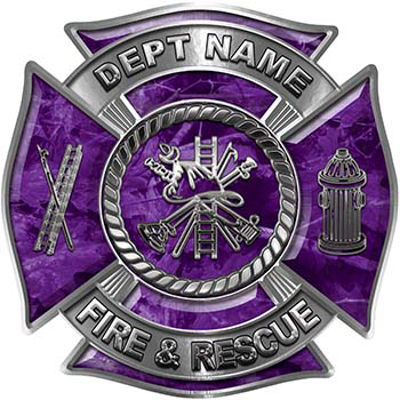 Custom Personalized Fire Fighter Decal with Fire Scramble in Purple Camouflage