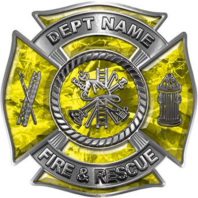 Custom Personalized Fire Fighter Decal with Fire Scramble in Yellow Camouflage