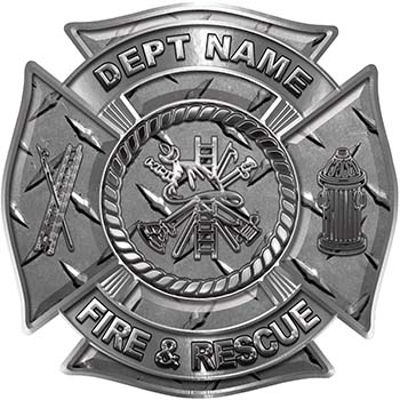 Custom Personalized Fire Fighter Decal with Fire Scramble in Diamond Plate