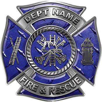 Custom Personalized Fire Fighter Decal with Fire Scramble in Blue Diamond Plate