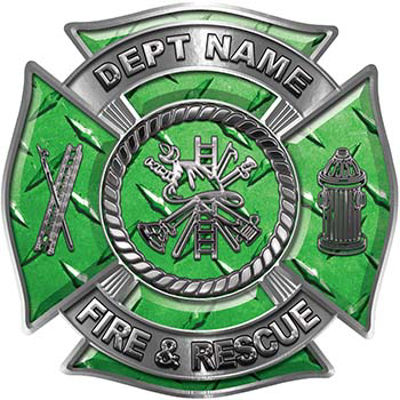 Custom Personalized Fire Fighter Decal with Fire Scramble in Green Diamond Plate