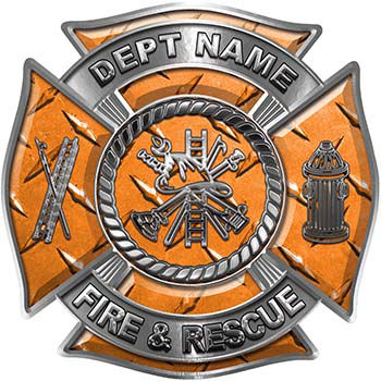 Custom Personalized Fire Fighter Decal with Fire Scramble in Orange Diamond Plate