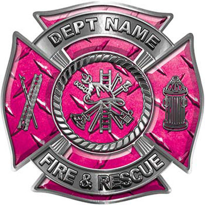 Custom Personalized Fire Fighter Decal with Fire Scramble in Pink Diamond Plate