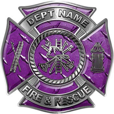 Custom Personalized Fire Fighter Decal with Fire Scramble in Purple Diamond Plate