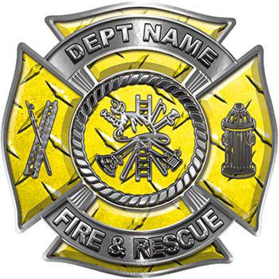 Custom Personalized Fire Fighter Decal with Fire Scramble in Yellow Diamond Plate