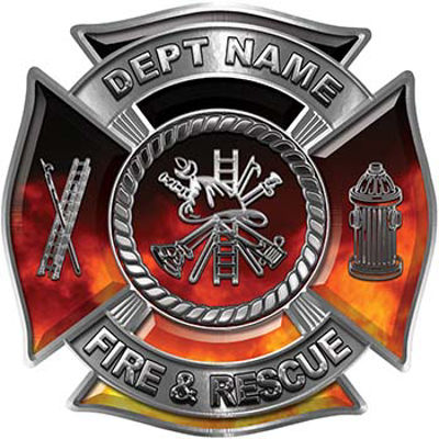 Custom Personalized Fire Fighter Decal with Fire Scramble in Real Fire