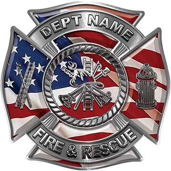 Custom Personalized Fire Fighter Decal with Fire Scramble with American Flag