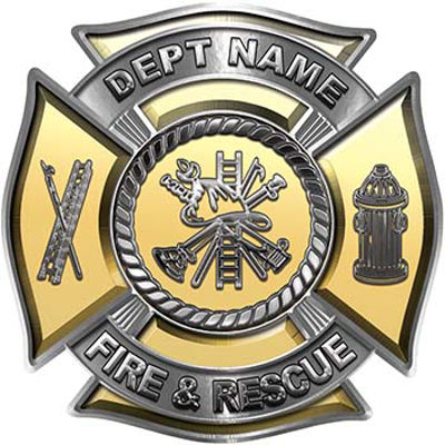Custom Personalized Fire Fighter Decal with Fire Scramble in Gold